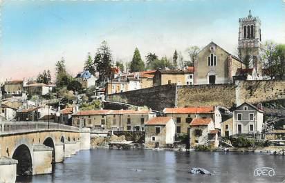 """. CPSM   FRANCE 86 """" L'Isle Jourdain, Le pont St Sylvain, vue sur l'église"""""""