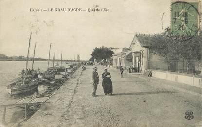 """. CPA FRANCE 34 """"Le Grau d'Agde, Quai de l'Est"""""""