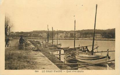 """. CPA FRANCE 34 """"Le Grau d'Agde, Quai rive droite"""""""