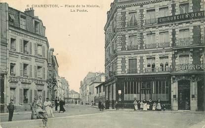 """CPA FRANCE 94 """"Charenton, Place de la Mairie, la Poste"""""""
