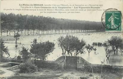 """. CPA FRANCE 34 """"Bessan, La plaine""""/ INONDATIONS"""