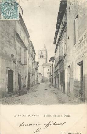 """.CPA  FRANCE 34 """"Frontignan, Rue et église St Paul"""""""
