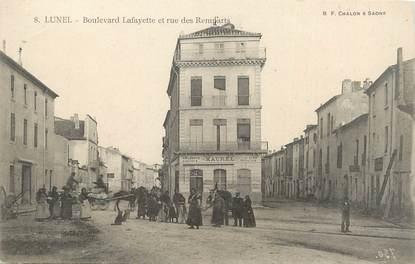 """.CPA  FRANCE 34 """"Lunel, Boulevard Lafayette et rue des Remparts"""""""
