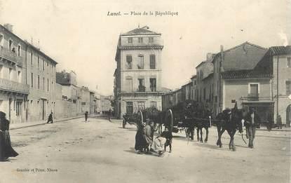 """.CPA  FRANCE 34 """"Lunel, Place de la République"""""""