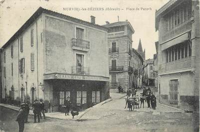 ".CPA  FRANCE 34 "" Murviel les Béziers, Place de Parech"""