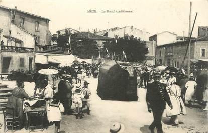 ".CPA  FRANCE 34 "" Mèze,  Le boeuf traditionnel"""