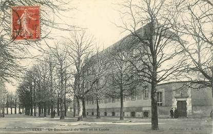 """CPA FRANCE 89 """"Sens, le boulevard du Mail et le lycée"""""""