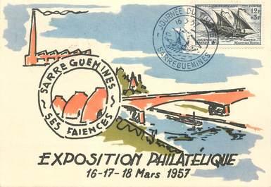 """CPSM FRANCE 57 """"Sarreguemines, Exposition philatélique 1957"""""""