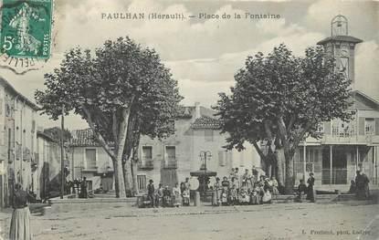 """.CPA  FRANCE 34 """"  Paulhan, Place de la fontaine"""""""