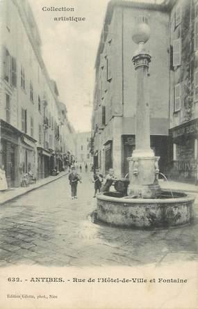 """CPA FRANCE  06 """"Antibes, la rue de l'Hotel de ville et la fontaine"""""""
