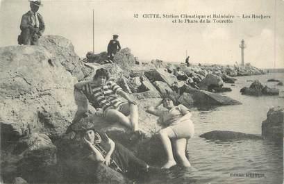 """.CPA  FRANCE 34 """"  Cette, Les rochers et le phare de la Tourette"""""""