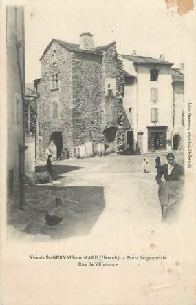 """.CPA  FRANCE 34 """"St Gervais sur Mare, Porte seigneuriale, rue de Villeneuve"""""""