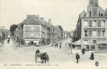 """. CPA FRANCE  35  """" Fougères, Boulevard et  Place de la Gare"""""""