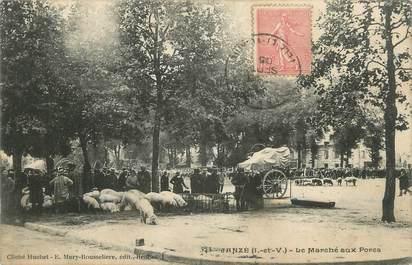 """. CPA FRANCE  35  """" Janzé, Le Marché aux Porcs"""""""