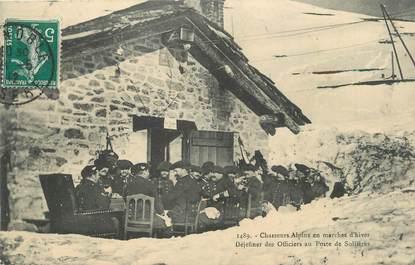""". CPA FRANCE  73 """" Sollières, Déjeûner des chasseurs alpins en marches d'hiver"""" / CHASSEURS ALPINS"""