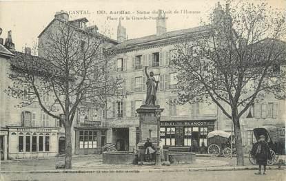 """.CPA  FRANCE 15 """"Aurillac, Statue du Droit de l'Homme, Place de la Grande Fontaine"""""""