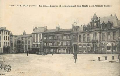 """.CPA FRANCE 15   """" St Flour-Faubourg, La Place d'Armees et le monument aux morts """""""