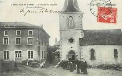 """.CPA FRANCE 15   """" Védrines St Loup, La place de l'église"""""""