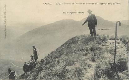 """.CPA  FRANCE 15  """"Puy Mary, Troupeau de chèvres au sommet""""/ CHEVRES"""