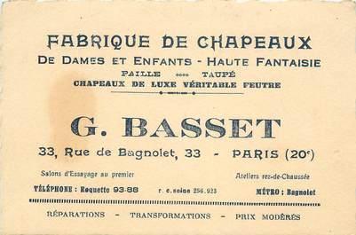 """Carte de Visite  FRANCE 75020 """"Paris, Fabrique de Chapeaux, Pr. G. BASSET, rue de Bagnolet"""""""