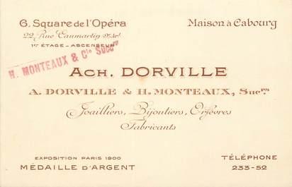 """Carte de Visite  FRANCE 75009 """"Paris, Joaillier, Bijoutier, Orfèvre Pr. ACH. DORVILLE, Square de l'Opéra"""""""