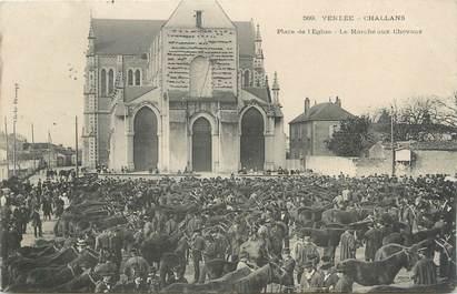 """.CPA FRANCE 85 """" Challans, Place de l'église, le marché aux chevaux"""""""