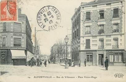 """.CPA FRANCE 94  """" Alfortville, Rue de Villeneuve, Place Victor Hugo"""""""