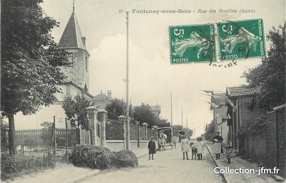 """CPA FRANCE 94"""" Fontenay sous Bois, Rue des Moulins"""" 94 val de marne fontenay sous bois  # Fontenay Sous Bois France"""