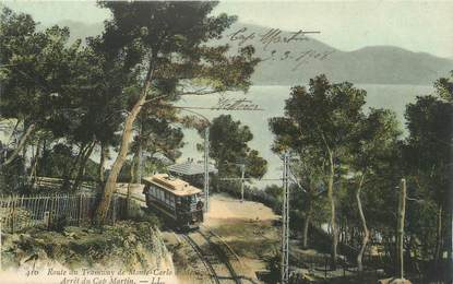 ".CPA  FRANCE 06  ""Cap Martin, Arrêt de tram"" / TRAM"