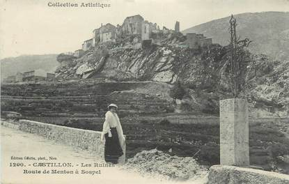 ".CPA  FRANCE 06  ""Castillon, Route de Menton à Sospel"""