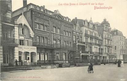 """CPA BELGIQUE """" Blankenberghe, les villas Boma et Léopold II sur la digue"""""""