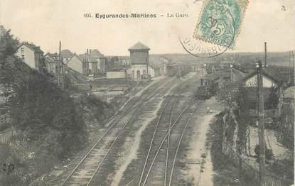""".CPA FRANCE 19 """"Eygurande - Merlines, La gare"""" / TRAINS"""