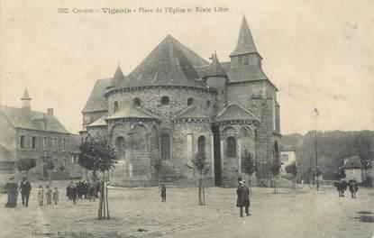 """.CPA  FRANCE 19  """"Vigeois, Place de l'église et école libre"""""""