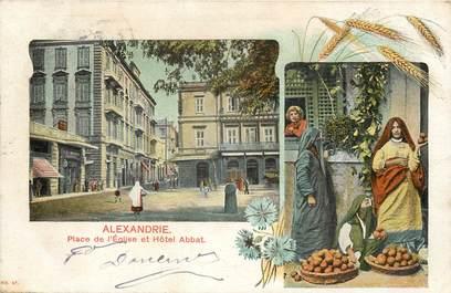 """CPA EGYPTE """"Alexandrie, la Place de l'Eglise et Hotel Abbat"""""""