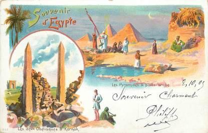 """CPA EGYPTE """"Souvenir, les Pyramides et un puits arabe"""""""