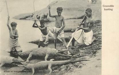 """CPA EGYPTE """"la chasse aux crocodiles"""""""