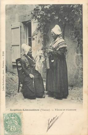 """. CPA FRANCE 86 """"Availles - Limouzines, Fileuse et tricoteuse""""/FOLKLORE"""