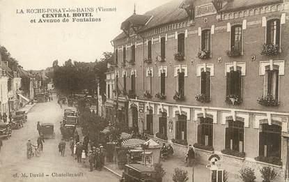 """. CPA FRANCE 86 """" La Roche Posay, Central Hôtel et avenue de Fontaines"""""""
