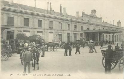""". CPA FRANCE 86 """" Poitiers, La gare d'Orléans et de l'Etat"""""""