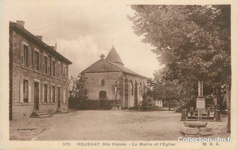 Cpa france 87 roussac la mairie et l 39 eglise 87 haute for 87 haute vienne france