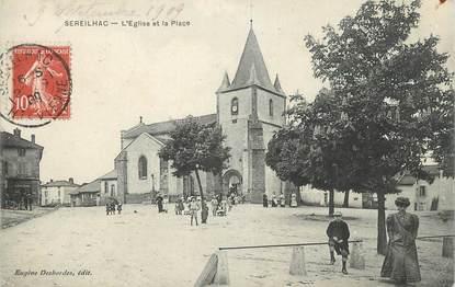 """.CPA FRANCE 87 """"Sereilhac, L'église et la place"""""""