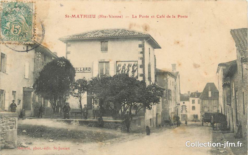 Cpa france 87 saint mathieu la poste et le caf de la for 87 haute vienne france