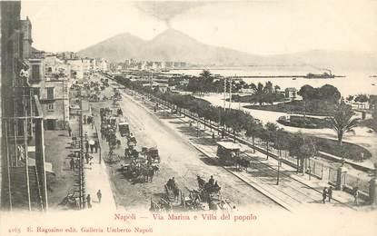 """CPA ITALIE """"Naples, Via Marina e Villa del popolo"""""""