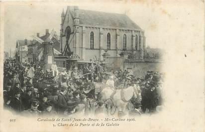""".CPA  FRANCE 45 """" St Jean de Braye, La cavalcade,  mi-carême 1906, chars de la purée et de la galette"""""""