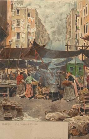 """CPA ITALIE """"Naples, le marché à Porto"""""""