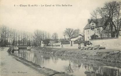 """.CPA  FRANCE 77 """"Claye, Le canal et Villa Belle Vue"""""""