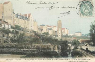 """.CPA FRANCE 77 """"Château Landon, Vue prise au bord du Fusain, la ville forte et la tour St Thugal"""""""