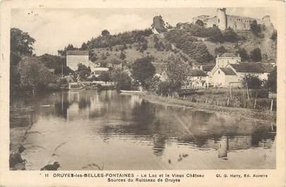 """.CPA  FRANCE 89 Druye les Belles Fontaines, Le lac et le vieux château"""""""