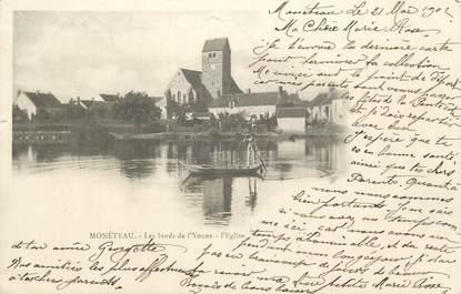 """.CPA  FRANCE 89 """" Monéteau, Les bords de l'Yonne, l'église"""""""