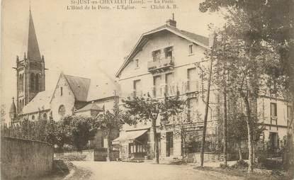 """.CPA FRANCE 42 """" St Just en Chevalet, La Poste, l'Hôtel de la Poste et l'église"""""""